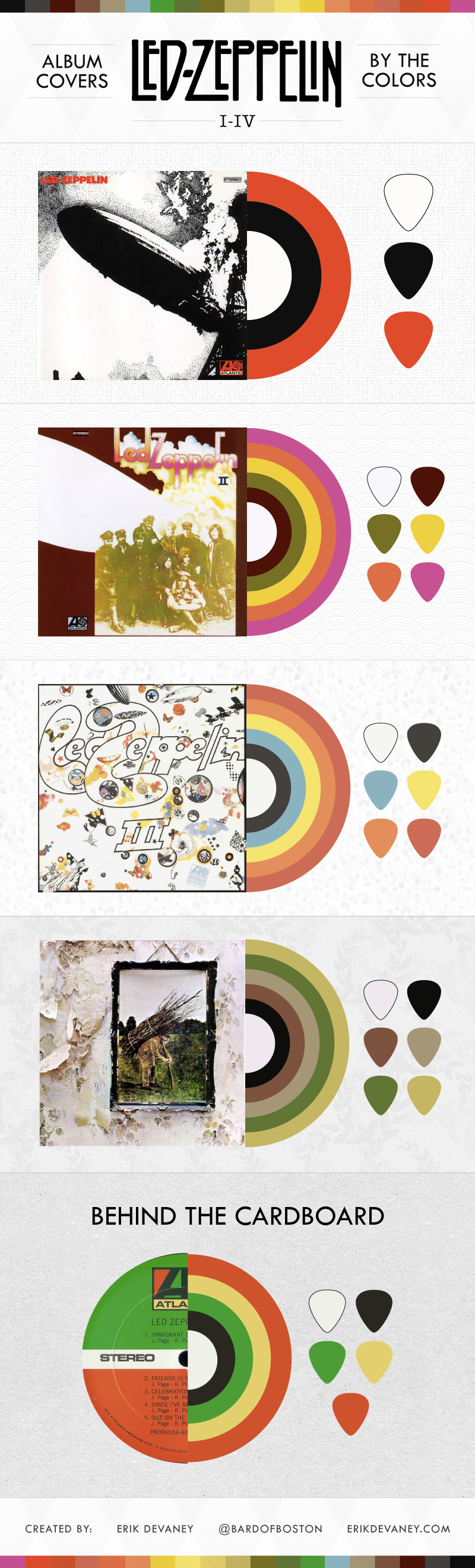 led zeppelin albums color palette – Erik Devaney